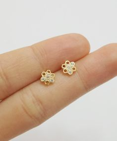 Gold Honeycomb Cz Earrings,sterling Silver,simple Earrings,geometric Earrings,silver Earring,jewelry on Luulla