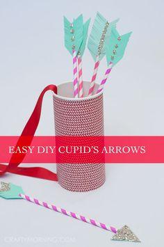 Paper Straw Cupid Arrows (Kids Valentine Craft) - super cute Valentine's day activity idea!