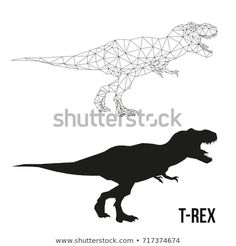 Abstract geometric triangle polygonal dino tyrannosaurus silhouette isolated on white background Cartoon Dinosaur, Cute Dinosaur, Dinosaur Party, Tattoo Vieja Escuela, Line Drawing, Painting & Drawing, Drawing Ideas, Illustrations, Illustration Art