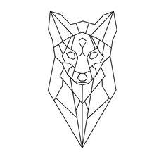 geometric fox head tete loup renard geometrique
