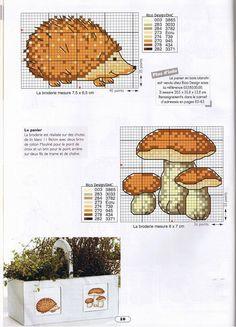 cross stitch hedgehog <3 Egeltje en paddestoelen borduurpatroon