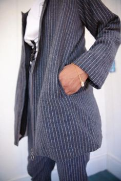 Grey Blue Pinstripe Collared Lonsleeve Jacket with Pockets Grey Pinstripe Suit, Matching Set, Baby Blue, Blue Grey, Collars, Charcoal, Suit Jacket, Menswear, Pockets