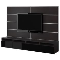 BESTÅ TV storage combination - black-brown/black - IKEA ~ thought this might help to distract our vision away from the line where column oddly joins the wall. Ikea Tv, Tv Stand Furniture, Ikea Furniture, Media Furniture, Furniture Storage, Tv Cabinet Ikea, Living Tv, Rack Tv, Tv Panel