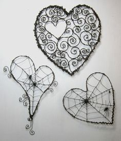 Corazones de alambre con tela de araña - Wire Hearts with spider web http://www.etsy.com/listing/91043800/barbed-wire-heart-with-spider-web-and?ref=sr_gallery_45&sref=&ga_search_submit=&ga_search_query=barbed+wire+&ga_order=most_relevant&ga_ship_to=US&ga_view_type=gallery&ga_page=3&ga_search_type=handmade&ga_facet=handmade