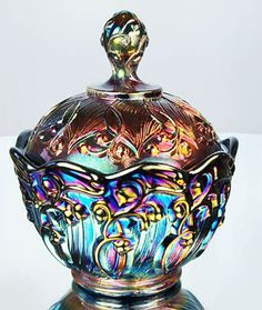 Contemporary, Fenton Lily of the Valley, carnival glass trinket or candy box