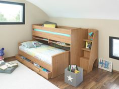 a fun cabin bed which lets your child slide out of bed and has space under the bed for a secret den covered by a colourful play tent and play tunnu2026