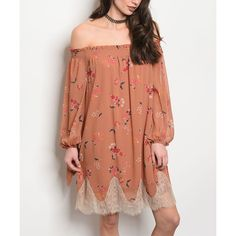 24|7 Frenzy Dusty Peach Floral Lace-Hem Off-Shoulder Dress (26,655 KRW) ❤ liked on Polyvore featuring dresses, peach lace dress, off the shoulder long dress, off the shoulder floral dress, long dresses and off-the-shoulder dress