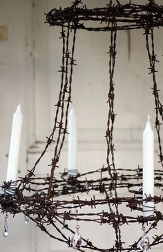 """Chandelier made from rusty old barbed wire"" .~  funkyjunkinteriors.blogspot.com"