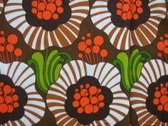 FABRIC original 1960s retro vintage flower power by dutchdetails