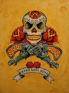 Day of the Dead NeoTraditional Old School Tattoo by TheTattooGirl