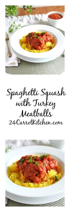 Very flavorful and easy turkey meatballs in a delicious tomato sauce over spaghetti squash.  Click for this healthy and scrumptious recipe!  grain free, gluten free dairy free, paleo, spaghetti squash, meatballs, turkey