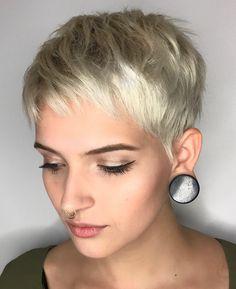 Short Pearl Blonde Choppy Pixie