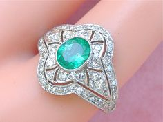 ESTATE ART DECO 1.20ctw DIAMOND .80ct OVAL EMERALD PLATINUM COCKTAIL RING #Unbranded #ARTDECO