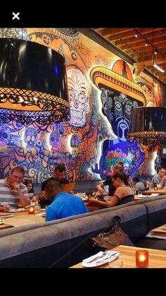 Mexican Restaurant Design, Mexican Bar, Taco Restaurant, Mexican Restaurants, Bar Interior Design, Restaurant Interior Design, Cafe Bar, Tequila Bar, Nightclub Design