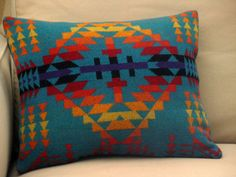 Aztec pillow, handmade of Pendleton blanket wool fabric, vibrant colors of the sunset,Turquoise, Red, Orange 15 x 17