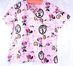 Disney Size 2XL See Measurements Pink Minnie Mouse Scrub Top  #Disney