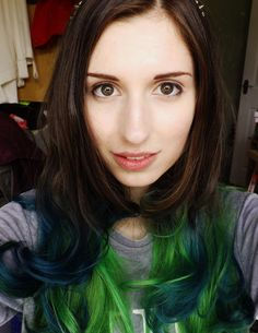 Green and teal ombre dip dyed brown hair