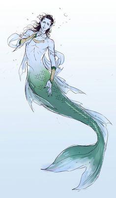 Loki as a merman. Loki Marvel, Loki Thor, Loki Laufeyson, Avengers, Character Drawing, Character Design, Grell Black Butler, Mermaid Man, Loki Art