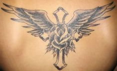 Cross, wings tattoo