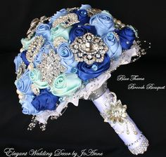BLUE KEEPSAKE BOUQUET Shades of Blue Satin by Elegantweddingdecor