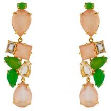 Rose Quartz, Chrysoprase, and Clear Quartz Earrings