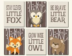 Woodland Animals Wall Art Forest Animals Kids Wall by vtdesigns
