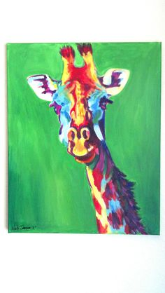Abstract Giraffe painting. $75.00, via Etsy.