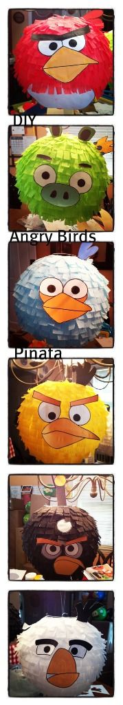DIY Angry Birds Piñata. I made these piñatas using chinese paper lantern and crepe paper and free downloadable template of all the birds (here's the link http://www.thepartyanimal-blog.org/Downloads/Angry_Birds_Balloon_Templates.pdf) #birthday #angrybirds