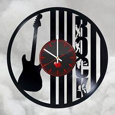 Rock Guitar Vinyl Record Wall Clock Cool Decor - VINYL CLOCKS