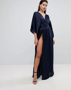 e2b5d97bfde Flounce London - Robe longue coupe cache-cœur style kimono avec double  fente sur les cuisses et body