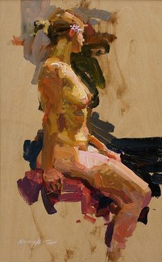 Quang Ho - Figure, Study, Oil on birch panel, in Figure Painting, Figure Drawing, Painting & Drawing, Drawing Board, Figurative Kunst, Traditional Paintings, Life Drawing, Erotic Art, Painting Inspiration