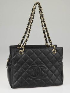 Chanel Black Quilted Caviar Leather Petite Timeless Shopping Tote Bag - - CHN130930A