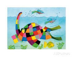 Elmer Snorkelling Art Print