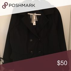 Black pea coat. NWT. Black pea coat. Made with felt. Removable hood. Jackets & Coats Pea Coats