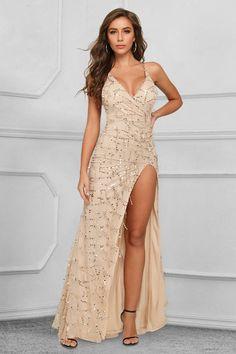 Elegant V-Neck Sleeveless Sequins Tassel Prom Dress Long With Split Source by dress sequin Affordable Prom Dresses, Prom Dresses Online, Homecoming Dresses, All Fashion, Sequin Dress, Evening Gowns, Dress Long, Tassel, Sequins