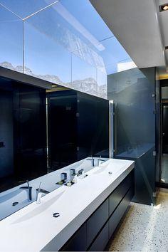 Grey stone and dark glass on Bathroom