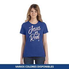 Blusa Estándar - Jesus es real V Neck, T Shirts For Women, Clothes, Fashion, Office Home, Christ, Blouses, Custom Shirts, Christian Clothing