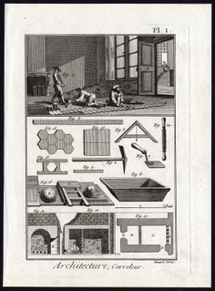 The Prints Collector :: 2 Antique Prints-SLATER-FLOOR AND WALL TILER-TILES-TOOLS-Diderot-Benard-1779