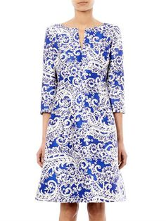 Oscar De La Renta Lace-print satin dress