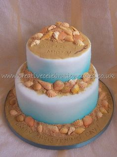 Beach and shells cake.. can convert to a cupcake with brown sugar as the sand: something a little less extravagant for a grooms cake?