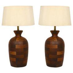 Pair of Mid Century Modern Walnut Table Lamps