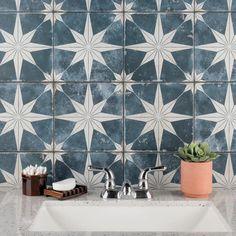 Merola Tile Kings Star Sky Encaustic 17-5/8 in. x 17-5/8 in. Ceramic Floor and Wall Tile (11.02 sq. ft. /Case)-FPESTRSK - The Home Depot