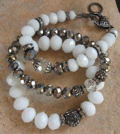 White Bead Rhinestone Bracelet Set @knittedbelle #knittedbelle