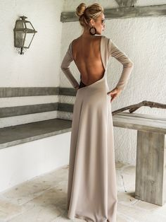 Open back with see-through details maxi dress by SynthiaCouture