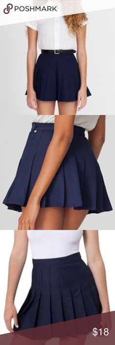 """🎾 AMERICAN APPAREL 🎾 Tennis Skirt Sexy school girl style skirt, navy blue CONDITION: EUC, minimal signs of wear, some rubbing on the button and zipper pull. Both still function like normal  WAIST: 24"""" LENGTH: 14.5"""" INSEAM: *All measurements taken while item is laid flat (doubled when necessary) and measured across the front  MATERIAL: poly  STRETCH: no INSTAGRAM @ORNAMENTALSTONE 🚫Trading  🚫Modeling American Apparel Skirts Mini"""