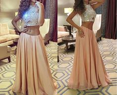 Beautiful Prom Dress, champagne prom dresses 2 pieces prom gowns 2 piece prom dresses chiffon prom dresses a line prom gown 2018 prom dress evening gonw with silver beading for teens Meet Dresses Prom Dresses Two Piece, Prom Dresses 2016, A Line Prom Dresses, Cheap Prom Dresses, Sexy Dresses, Prom Gowns, Party Dresses, Long Dresses, Formal Dresses