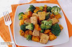 Receta de salteado de brócoli, calabaza y tofu. Con fotografías paso a paso, consejos y sugerencias de degustación. Recetas vegetarianas, salteados