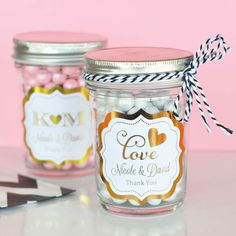 Mini Mason Jar Wedding Favors | Personalized Mason Jars | Pink and Gold Wedding Favors
