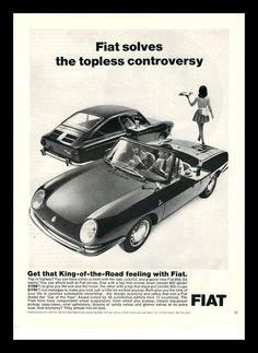 1967 Fiat 850 Spider vintage magazine ad by catchingcanaries