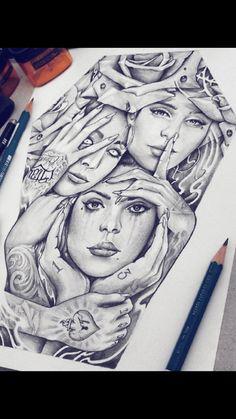 Chicano Tattoos Sleeve, Chicano Style Tattoo, Girl Arm Tattoos, Body Art Tattoos, Tattoo Design Drawings, Tattoo Sketches, Kon Bleach, Harley Tattoos, Skull Tattoo Flowers